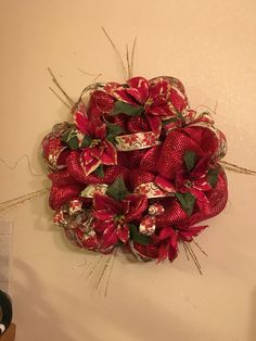 Red and Gold Christmas Wreath.