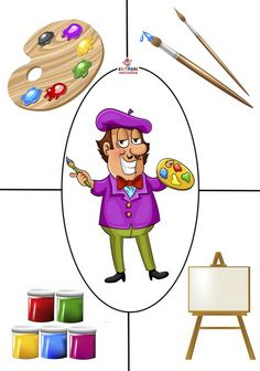 de kunstschilder - puzzel Preschool Jobs, Kindergarten, Preschool Education, Preschool Learning Activities, Infant Activities, Preschool Activities, People Who Help Us, Autism Learning, Community Helpers