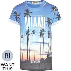 Blue Miami sunset print t-shirt - print t-shirts - t-shirts / vests - men