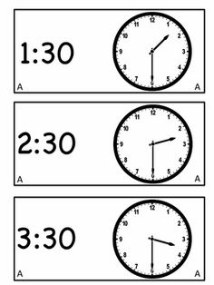 Printable hour and half hour sheets that can be laminated and cut to make a puzzle match game