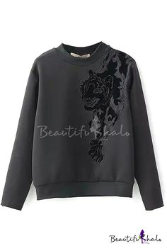 Black Tiger Embroidery Round Neck Long Sleeve Sweatshirt