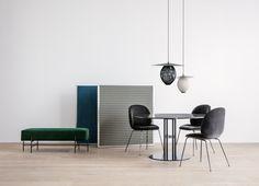 GUBI // TS Pouffe, Satellite Pendant, Beetle Chair, TS Column Dining Table
