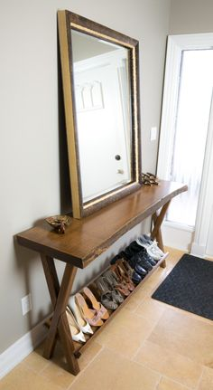 Live edge entry table with shoe rack
