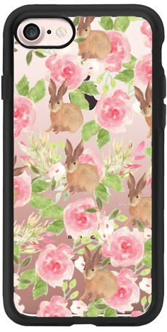 Casetify iPhone 7 Classic Grip Case - Pink brown watercolor roses floral bunny rabbit by Pink Water #Casetify