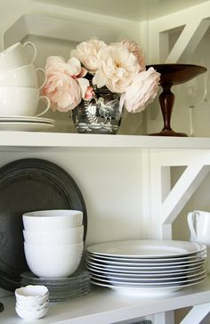 I love this open shelving in the kitchen.