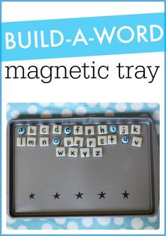 Stickers to mark spaces for letters. Build-a-Word Magnetic Tray: A great tool for teaching letter recognition, decoding, and spelling! Literacy And Numeracy, Kindergarten Literacy, Early Literacy, Preschool Learning, Literacy Activities, Homeschooling Resources, Literacy Stations, Literacy Skills, Preschool Lessons