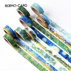 1 개 와시 테이프 DIY 반 고흐 그림 종이 마스킹 테이프 장식 테이프 스크랩북 스티커 크기 15 미리메터 * 7 메터
