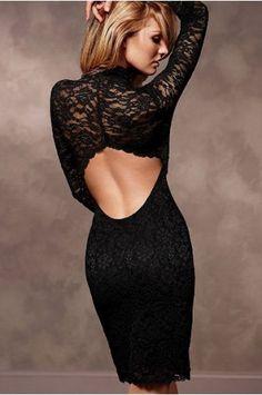 $41.99 Black Long Sleeve Lace Backless Sexy Party Dress @ MayKool.com