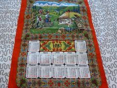 Calendar Tea Towel 1987 Tea Towel Made in West Germany 1987 Calendar Tea Towel
