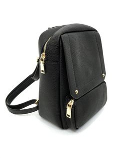 Black mini backpack with several zipper openings, a front pocket,  adjustable back straps and 1d591817df
