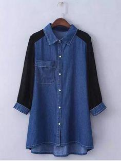 Plus Size Trendy Chiffon Sleeve Denim Shirt For Women Top Fashion, Plus Size Fashion, Fashion Outfits, Fashion Site, Cheap Fashion, Fashion Online, Denim Tunic, Tunic Shirt, Shirt Dress