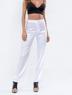 The fashion lace hollow out pure color splicing  see-through pants  is so casual and you  may like it. #pantsforwomen  #pantsforwomencasual #pantsforwomenfashion #pantsoutfitwork #pantsoutfitcasual Striped Wide Leg Trousers, Straight Trousers, Latest Fashion Design, Latest Fashion Trends, Style Fashion, Fashion 2018, Womens Fashion, Chiffon Pants, Classic Style Women