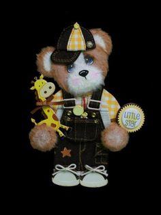Little Star Boy Baby Tear Bear Paper Piecing Premade Scrapbook Page
