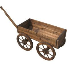 Wooden Planter Wagon by Northern Tool & Equipment. $59.99. Use this charming wagon to display your favorite flowers or garden plants. Handle and working wheels make it easy to move the planter and spread the charm around. Made of natural fir with burnt wood finish; assembly required. Finish Type: Burnt wood finish, Dimensions L x W x H (in.): 20 3/4 (47 with handle) x 16 1/2 x 21 5/8, Material Type: Natural fir, Includes: Working wheels, Application: Planter