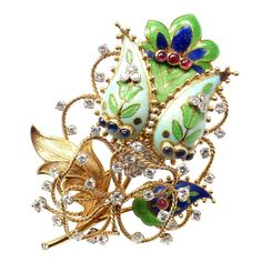 Tiffany & Co. Enamel Ruby Sapphire Diamond Yellow Gold Large Flower Pin Brooch | From a unique collection of vintage brooches at https://www.1stdibs.com/jewelry/brooches/brooches/