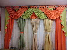 Beautiful Colorful Curtain Ideas To Make Amazing Scenery in Your Home 4611 – GooDSGN Large Window Treatments, Bathroom Window Treatments, Window Treatments Living Room, Window Coverings, Elegant Curtains, Beautiful Curtains, Colorful Curtains, How To Make Curtains, Curtains With Blinds