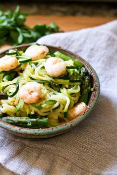 Spicy Shrimp and Asparagus over Zucchini Noodle Pasta