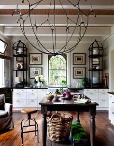 black and white with warm wood country style kitchen / Trevor Tondro Photographer  I like the taupe wall color
