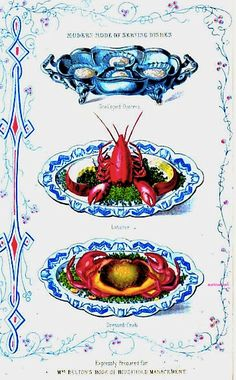 Oysters, Lobster, and Crab. via 1863  The Book of Household Management By Mrs. Isabella Beeton.  Google Books (PD-100)   suzilove.com