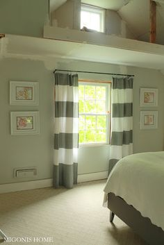 Gray stripped curtains made from a West Elm shower curtain