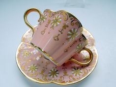 Rare Coalport Cup Saucer Jewels Gilded Pale Pink Double Handle Quatrefoil Shape Anniversary Wedding Collector Gift Bridal Shower by on Etsy Vintage Tableware, Vintage Dishes, Vintage Teacups, Pink Coffee Cups, Afternoon Tea Parties, Painted Wine Glasses, Quatrefoil, Bridal Shower Gifts, Cup And Saucer Set