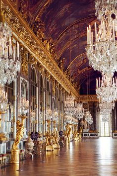 The Palace of Versailles Hall of Mirrors  Find Super Cheap International Flights to Versailles, France ✈✈✈ https://thedecisionmoment.com/cheap-flights-to-europe-france-versailles/ #Palaces