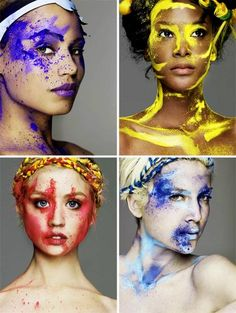 This collection of images shows a range of images by the same photographer. This presentation of them shows how different each shoot can be and give me ideas for my own. The use of contrasting colours agaisnt skin colours helps tie the whole image together. The use of accessories the same colours as the make up also help bring in a fashion aspect in which this audience would also be interested in.
