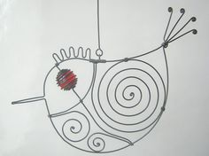 Metal Sculpture / Another Small Red - Eyed Wire Bird