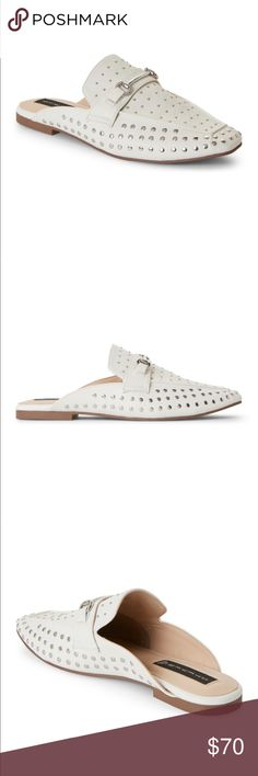 Steve Madden White Rilee Slip-on Mule STEVE by Steve Madden mules. Similar to Gucci slip on mule shoe. Comes with box  Steven by steve madden. Color/material: white leather. Design details: silver-tone hardware, stud detailing. Lightly padded insole. Man-made sole. Color/material: white leather. Color: white  From $120 marked down to $70+ tax at Nordstrom Rack. Never worn--Bought a half size too small. Steven By Steve Madden Shoes Mules & Clogs