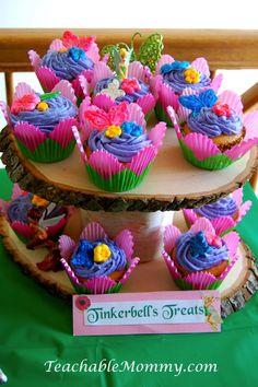 Tinkerbell Birthday Party, Tinkerbell Party, Tinkerbell party food, Tinkerbell Decorations, Pixie Hollow party, Tinkerbell Cupcakes, Fairy Cupcakes