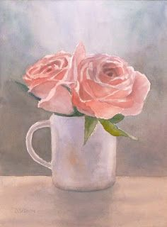"""""""Pink Roses In Cup"""" Watercolor on Arches, 12"""" x 9"""". It's so refreshing to paint flowers with translucent watercolors and see them glow!  It satisfies my love of building up color from light to dark."""