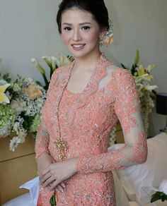 Wedding Gowns Traditional Skirts 43 New Ideas Kebaya Lace, Kebaya Brokat, Batik Kebaya, Kebaya Dress, Model Kebaya Modern, Kebaya Modern Dress, Traditional Skirts, Myanmar Traditional Dress, Kebaya Kutu Baru Modern