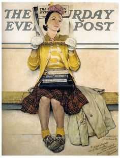 1941... Double Take - Norman Rockwell by x-ray delta one, via Flickr Arte De Norman Rockwell, Norman Rockwell Prints, Norman Rockwell Paintings, Woman Reading, Children Reading, Street Art, Saturday Evening Post, Vintage Art, Vintage Stuff