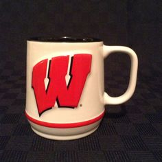 Wisconsin Badgers Raised Letter And Mascot Red White Black Coffee Cup Mug