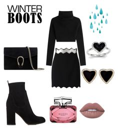 """Winter Boots Look"" by rea-godo ❤ liked on Polyvore featuring David Koma, Valentino, Gianvito Rossi, Gucci and Kevin Jewelers"