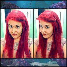 I finally did it!! Ariel hair!!! Hipster Ariel ? Lol jk - definitely not a hipster! ;P I love this hair!!!   Bright red little mermaid Disney princess hair septum piercing nose ring alternative