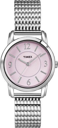 Timex Women's T2N846 Elevated Classics Dress Pink Dial Silver-Tone Expansion Band Watch Timex. $37.19. Water-resistant to 99 feet (30 M). Textured pink dial. Stainless steel expansion band. Water-resistant to 30 meters. Durable mineral crystal protects watch from scratches