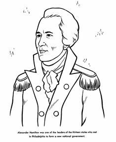 Revolutionary War Alexander Hamilton Coloring Page