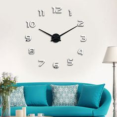 New Luxury Home Decor DIY Art3D Mirrors Face Wall Clock Stickers