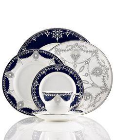 Marchesa by Lenox Dinnerware, Empire Indigo Collection | macys.com Vase Deco, Lenox China, China Teapot, Dinner Sets, Dinner Ware, Dinner Plates, China Sets, Dinnerware Sets, Fine China Dinnerware