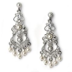 Wedding Earrings, Petite Pearl & Rhinestone Chandelier Earrings for Brides 1141 USABride. $29.95. Great for weddings, prom or any special occasion. Coordinate beautifully with a white or off white wedding dress. Features rhinestones and soft white faux pearls in a sterling silver setting. Measure 2 1/8 inches in length