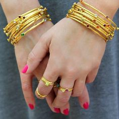Let yourself glow. #GURHANJewelry #bangles #rings #24kgold #goldring #goldbracelet #fashion #jewelry