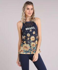 Moda regata brasil esportiva ace em tela estampada floral azul marinho - Grifes