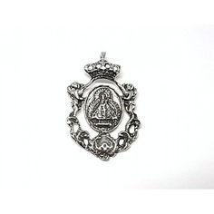 Colgante de plata de primera ley liso medalla Virgen de la Cabeza oxy de 3,3 cm de largo