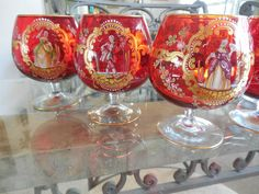 6 Salviati Murano Vintage Venetian Figures Ruby RED Goblets Hand Painted | eBay