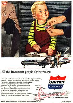 United Airlines ad from 1954. The airlines gave children a wings pin like the crew wore.