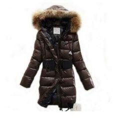France Moncler Pop Star Down Long Brown Coat Women Online Shopping