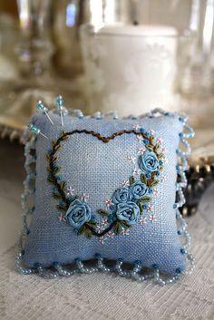 Blue Heart Pincushion~So Pretty!