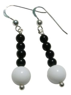 Sterling Silver Black Onyx and White Jade by BlueBreezeJewelry, $17.99