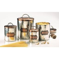 Cucina Hammered Metal Canisters